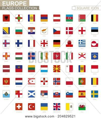 Square Flags Of Europe. From Albania To Wales.