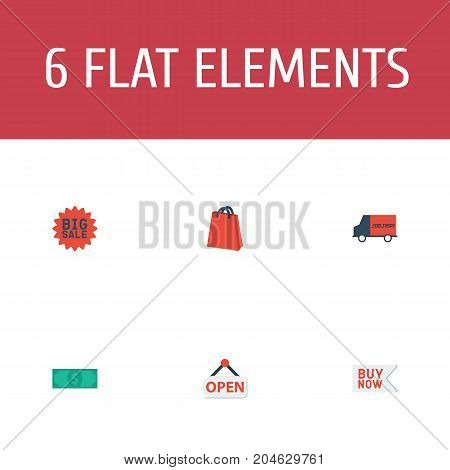Flat Icons Big Sale, Sign, Bus And Other Vector Elements