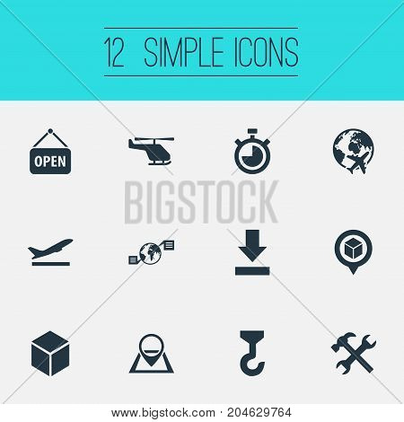 Elements Box, Helicopter, Renovation And Other Synonyms Navigation, Address And Map.  Vector Illustration Set Of Simple Systematization Icons.