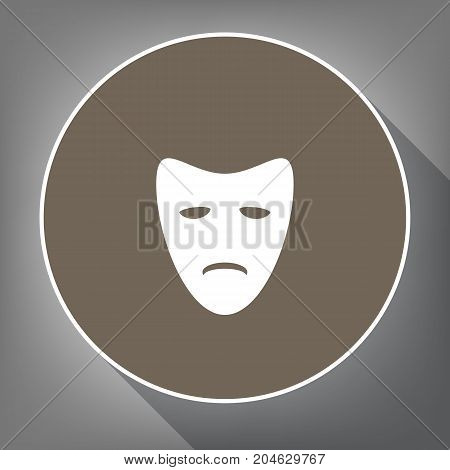 Tragedy theatrical masks. Vector. White icon on brown circle with white contour and long shadow at gray background. Like top view on postament.