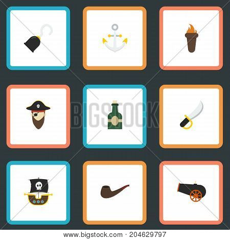 Flat Icons Tobacco, Vessel, Sabre And Other Vector Elements