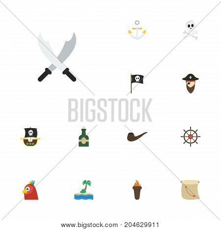 Flat Icons Treasure Map, Ship Steering Wheel, Tobacco And Other Vector Elements