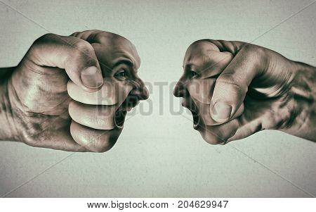 Two fists with a male and female face collide with each other on light background. Concept of confrontation competition family quarrel etc.