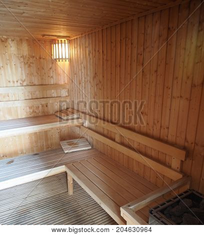 Sauna Wooden Room Bath House Relax Spa. Japanese Style.