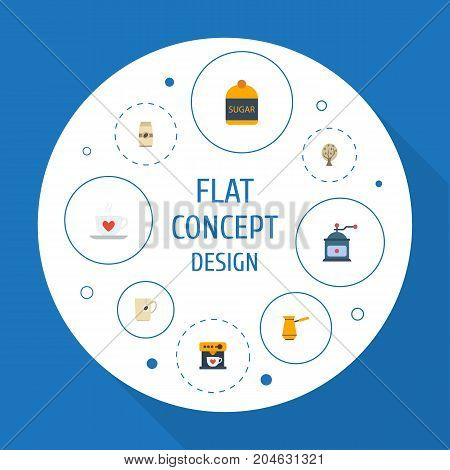 Flat Icons Mug, Coffeemaker, Ibrik And Other Vector Elements