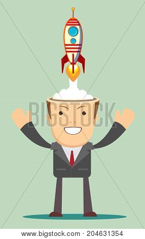 Successful scientist man with rocket ship launching from his head. Business idea start up concept.