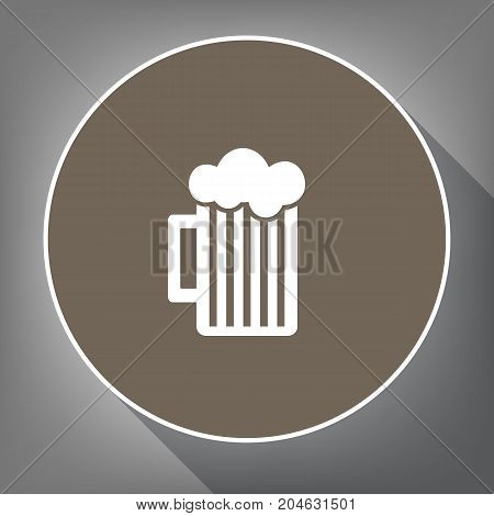 Glass of beer sign. Vector. White icon on brown circle with white contour and long shadow at gray background. Like top view on postament.