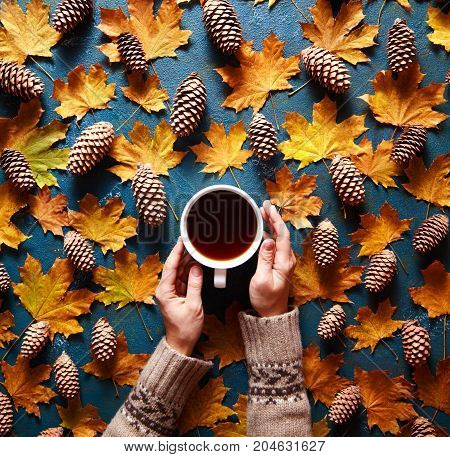 Floral autumn background. A mug of coffee in a woman's hand in a sweater on the green background with yellow falling leaves maple and cones. Hello autumn. Flat lay instagram fashion drink composition.