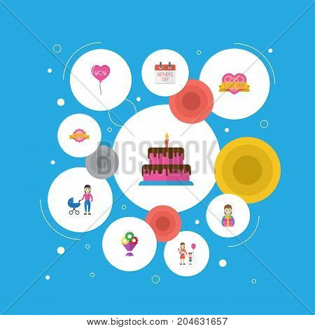 Happy Mother's Day Flat Icon Layout Design With Woman, Decoration And Sticker Symbols