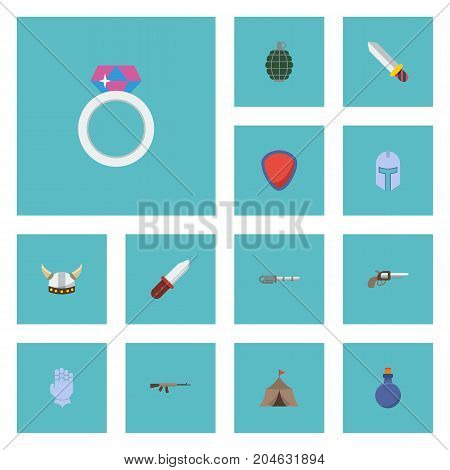 Flat Icons Jewelry, Weapon, Gloves And Other Vector Elements