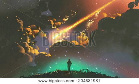 night scenery of a boy looking at the meteor in the colorful sky, digital art style, illustration painting