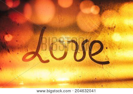 Autumn Rain, The Inscription On The Sweaty Glass - Love