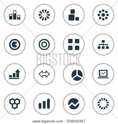 Elements Data, Contour, Piece And Other Synonyms Graph, Honeycomb And Cube.  Vector Illustration Set Of Simple  Icons.