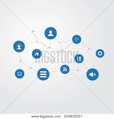 Elements Wireless Connection, User, Home Pin And Other Synonyms Idea, Screw And Imagination.  Vector Illustration Set Of Simple Interface Icons.