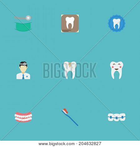 Flat Icons Hygiene, Dentition, Radiology And Other Vector Elements