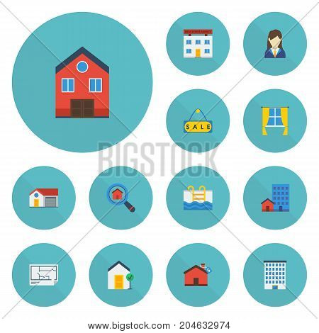 Flat Icons Real Estate, Casement, Woman Realtor And Other Vector Elements