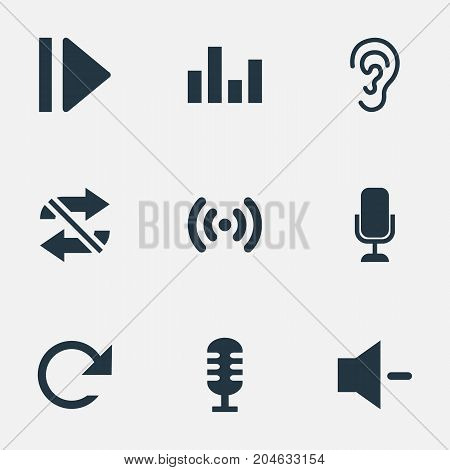 Elements Ear, Wave, Microphone And Other Synonyms Audio, Movie And Minus.  Vector Illustration Set Of Simple Music Icons.