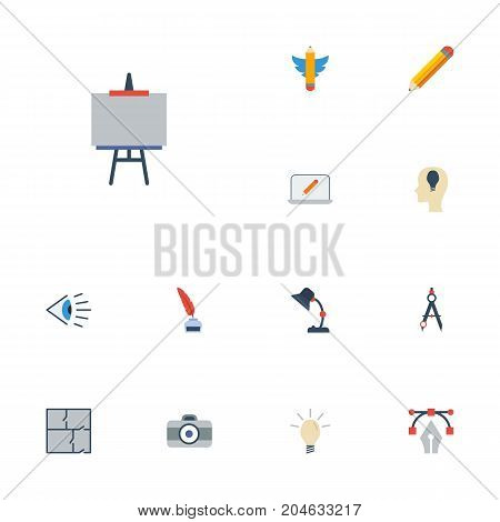 Flat Icons Compass, Photo, Illuminator And Other Vector Elements