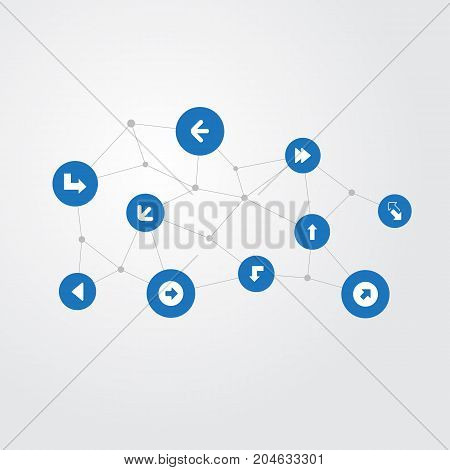 Elements Upward Direction, Pointer, Droping And Other Synonyms Increase, Direction And Reduction.  Vector Illustration Set Of Simple Arrows Icons.
