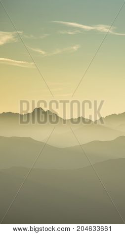 An Inspiring Mountain Landscape In Tatry, Slovakia. Vivid, Gradient Scenery With Perspective In Warm