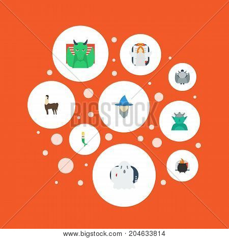 Flat Icons Evil, Wizard, Fish Girl And Other Vector Elements