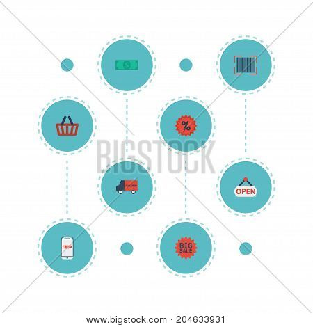 Flat Icons Qr, Cash, Sign And Other Vector Elements
