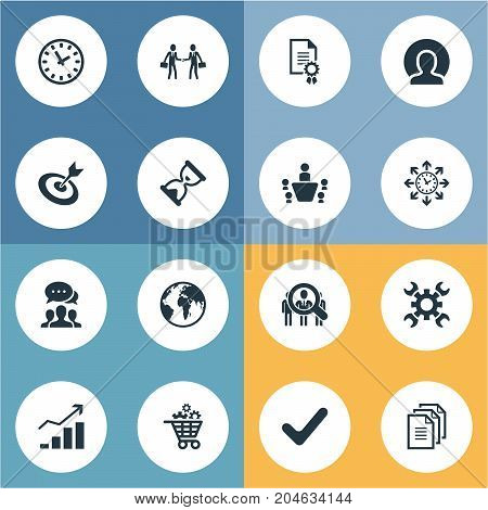 Elements Manager, Group, Goal And Other Synonyms Mark, Management And Target.  Vector Illustration Set Of Simple Plan Icons.