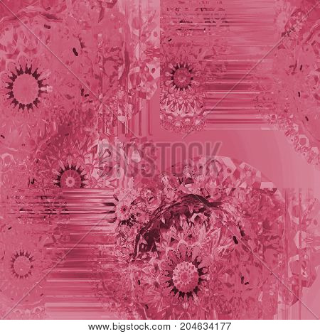 Abstract round crystal-like background single color. Intricate round fantasy pattern pink and pastel red, ornate and dreamy.