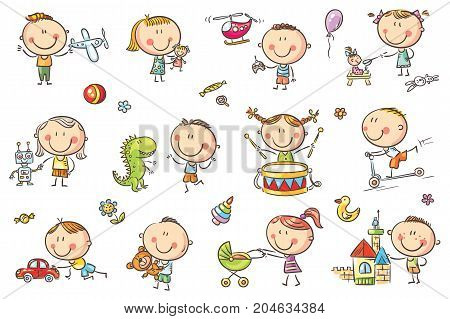 Funny sketchy kids playing with different toys like dolls a robot a dinosaur a plane and others. No gradients used easy to print and recolor. Vector files can be scaled to any size.