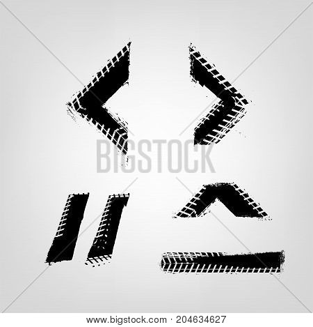 Grunge tire glyphs. Unique off road isolated lettering in a black colour on a light grey background. Vector illustration. Creative typography collection.