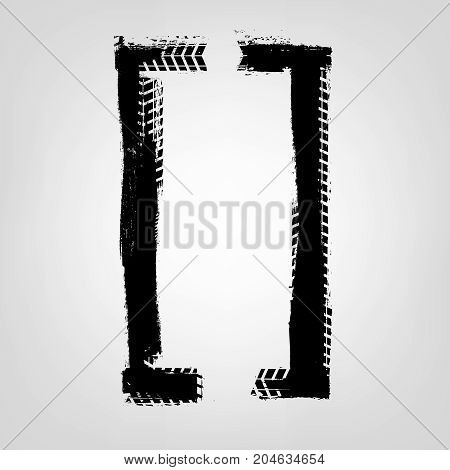 Grunge tire glyphs. Square brackets. Unique off road isolated lettering in a black colour on a light grey background. Vector illustration. Creative typography collection.