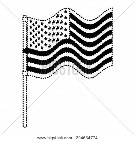 flag united states of america in flagpole waving in dotted monochrome silhouette vector illustration