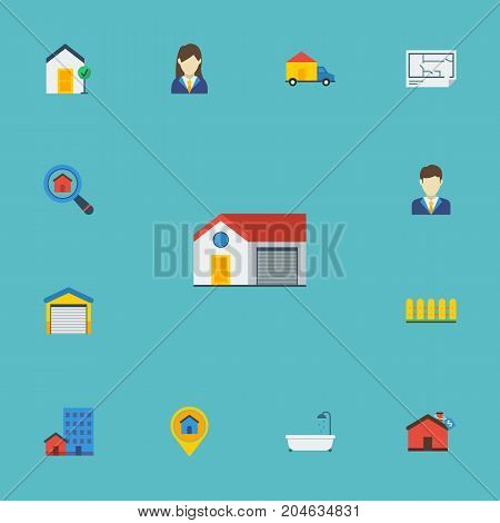 Flat Icons Bathroom, Magnifier, Woman Realtor And Other Vector Elements