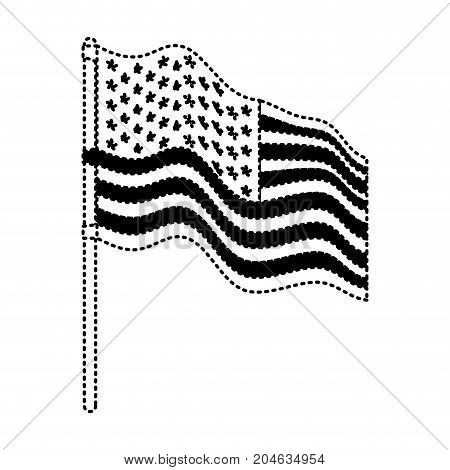 flag united states of america in flagpole waving side in dotted monochrome silhouette vector illustration