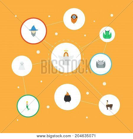 Flat Icons Evil, Wizard, Hell And Other Vector Elements