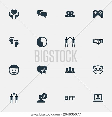 Elements Unity, Homosexual, Lover And Other Synonyms Favorite, Human And Crowd.  Vector Illustration Set Of Simple Fellows Icons.