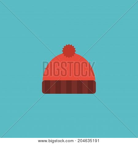 Flat Icon Knitted Hat Element. Vector Illustration Of Flat Icon Beanie Isolated On Clean Background