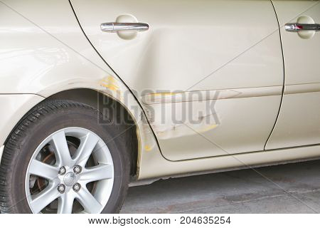 car crash accident on road with copy space add text