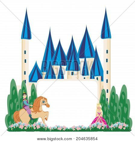 Prince riding a horse to the castle - abstract frame , vector illustration