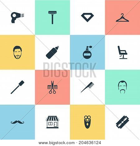 Elements Brilliant, Haircutting Tools, Blow Dryer And Other Synonyms Scissors, Can And Hair.  Vector Illustration Set Of Simple Hairdresser Icons.