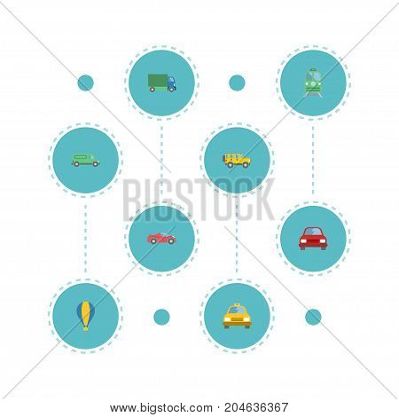 Flat Icons Airship, Lorry, Cab And Other Vector Elements