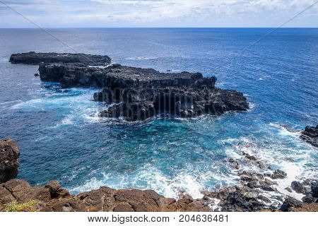 Pacific Ocean Landscape Vue From Cliffs In Easter Island