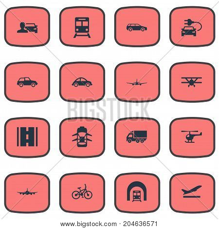 Elements Highway, Bike, Small Automobile And Other Synonyms Plane, Automobile And Departure.  Vector Illustration Set Of Simple Transport Icons.