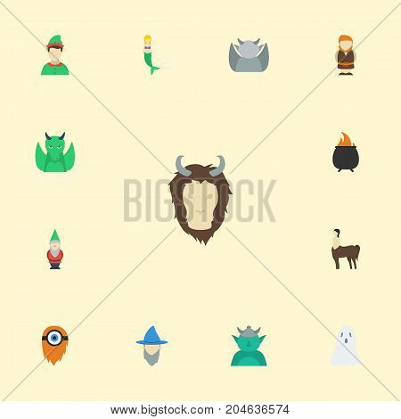 Flat Icons Goblin, Fish Girl, Dinosaur And Other Vector Elements