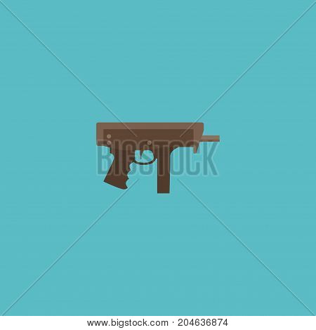 Flat Icon Submachine Element. Vector Illustration Of Flat Icon Gun Isolated On Clean Background