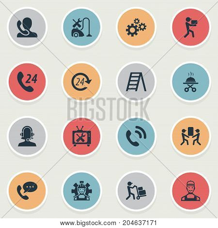 Elements Industry, Call Center, Moving And Other Synonyms Phone, Tool And Warranty.  Vector Illustration Set Of Simple Help Icons.
