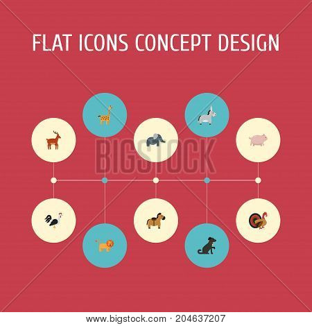 Flat Icons Trunked Animal, Moose, Gobbler And Other Vector Elements