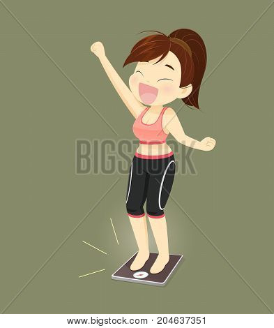 Women Success Losing Weight Concept With Cartoon Design Vector Illustration