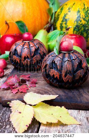 Jack-o-lantern On Wooden Background. Autumn Concept. Halloween.