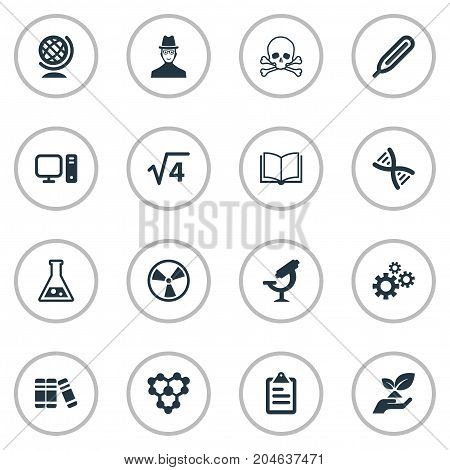 Elements Biology, Molecule, Toxic Substance And Other Synonyms Science, Information And Book.  Vector Illustration Set Of Simple Study Icons.